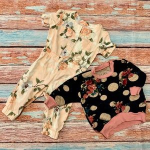 Baby Girl Floral Bundle. Jumpsuit and Pullover.